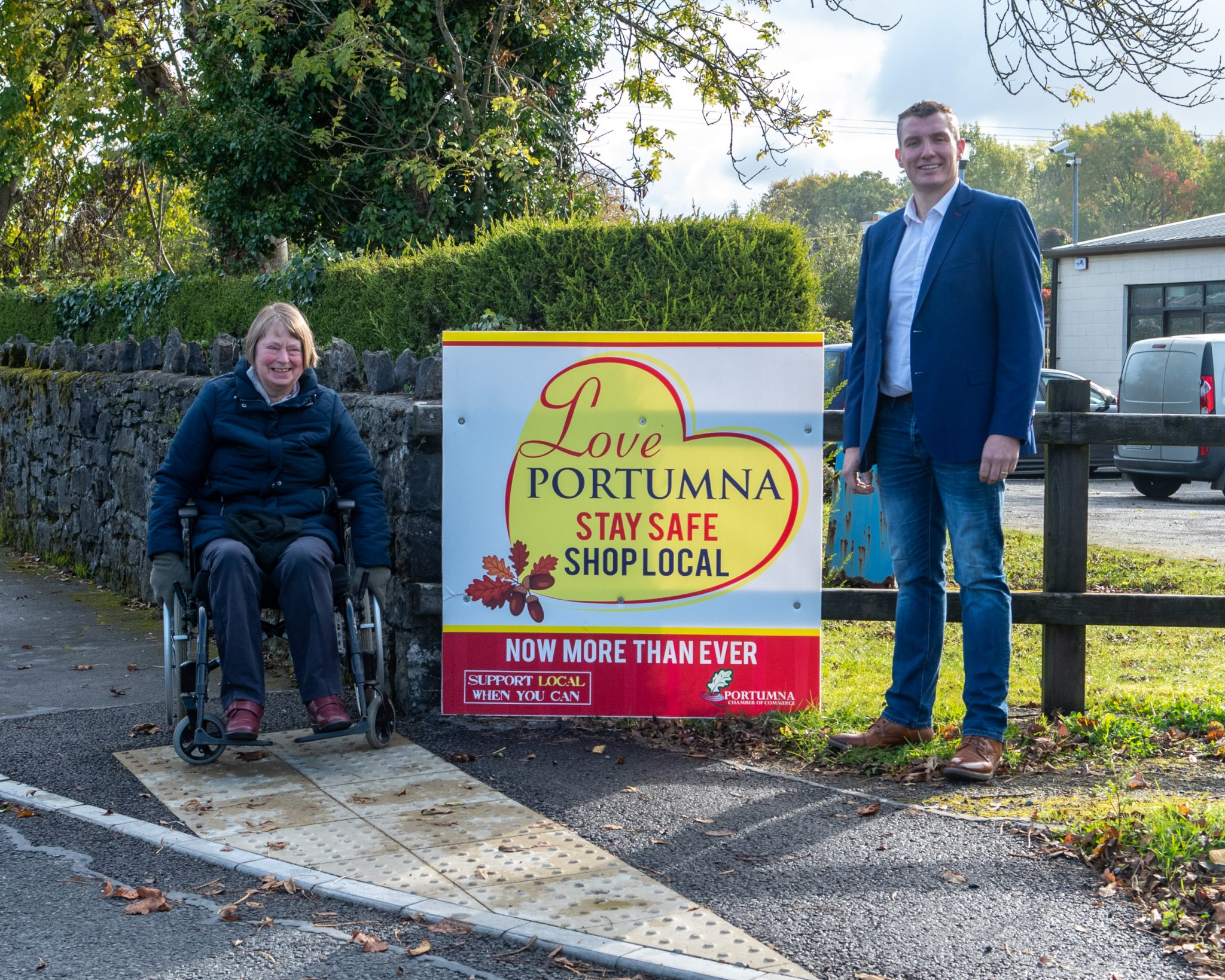 Minister Rabbitte & Cllr. Canning welcome installation of wheelchair accessible ramps around Portumna 1